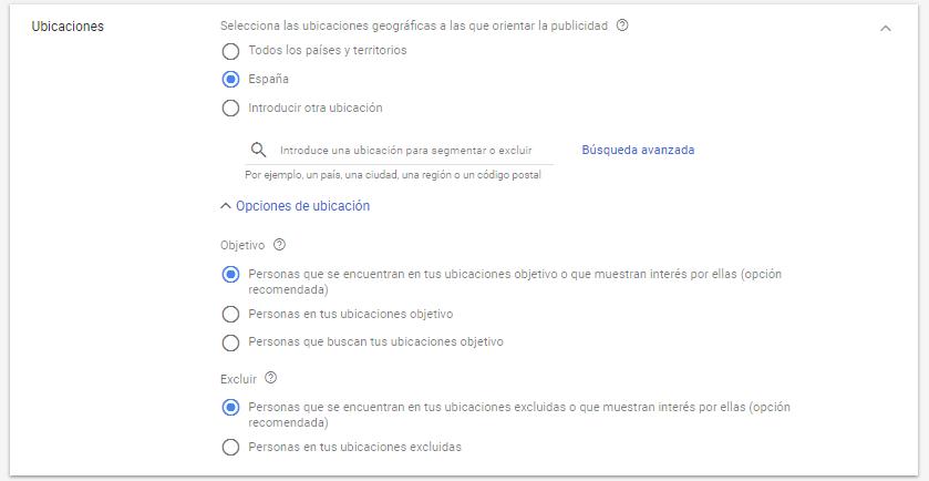 Ubicaciones geográficas Google Adwords