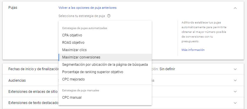 Estrategias de pujas en Google Adwords