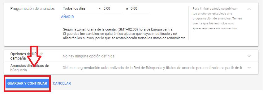 Ejemplo de configuración de google adwords