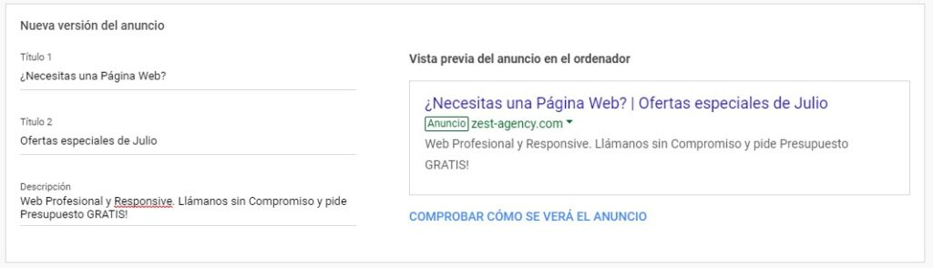Ejemplo de anuncio en Google Adwords